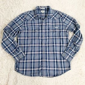 LUCKY BRAND Blue & White Plaid Western Style Shirt